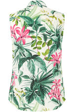 Sleeveless Tropical Print Shirt