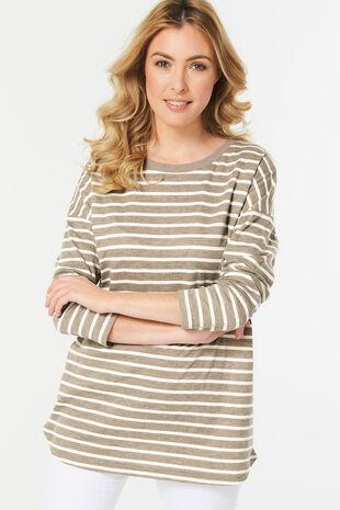 Stripe Curve Hem Sweatshirt