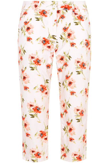 Peached Poppy Print Capri Trousers
