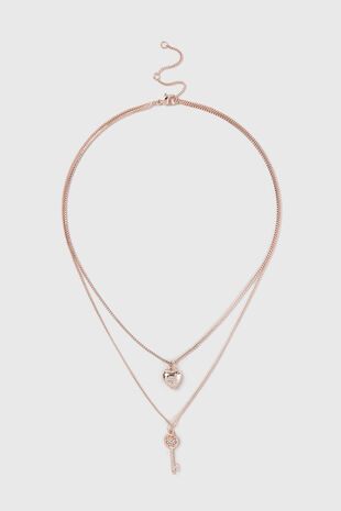 Muse Rose Gold Two Row Charm Necklace