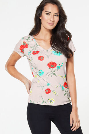 Poppy Floral Print V Neck Top