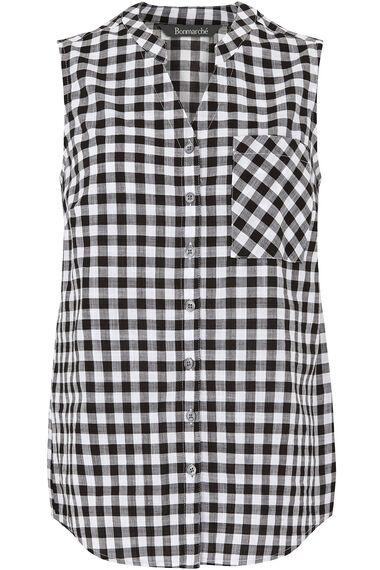 Sleeveless Gingham Shirt
