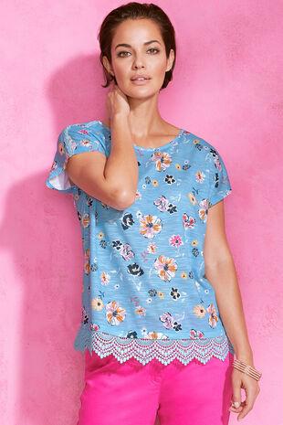 Floral Print Lace Hem