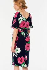 Floral Print Twist Front Half Sleeve Dress