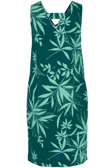 Palm Print Linen Blend Dress