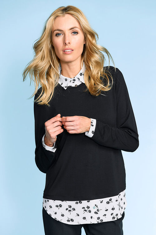 2 in 1 Top With Printed Mock Shirt