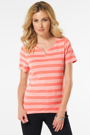 Notch Neck Printed Stripe T-Shirt