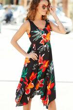 Sleeveless Floral Hanky Hem Dress