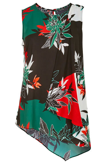 Sleeveless Asymetric Floral Top