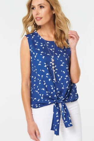 Butterfly Print Tie Front Top