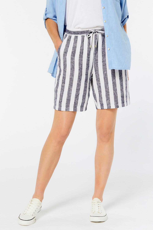 New M&s Womens Ladies Khaki Linen Rich Holiday Beach Summer Shorts Size 10 Elegant Shape Women's Clothing