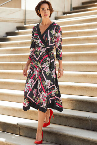 Graphic Peony Hanky Hem Wrap Dress