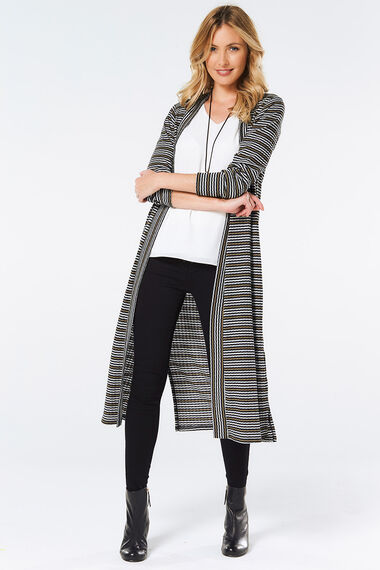Rib Stripe Longline Cover Up Cardigan