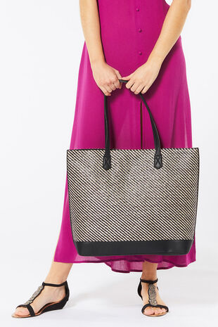 Faux Straw Tote Resort Bag