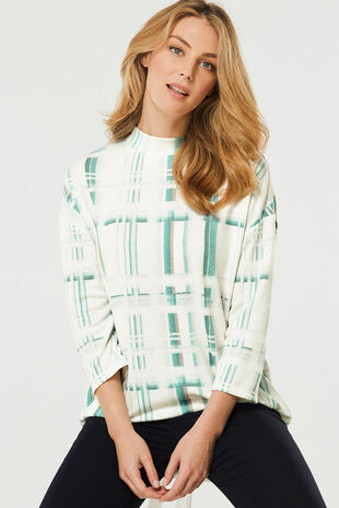Soft Touch Printed Check Sweat