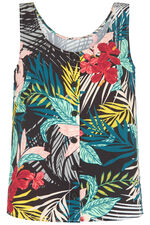 Tropical Print Button Through Vest