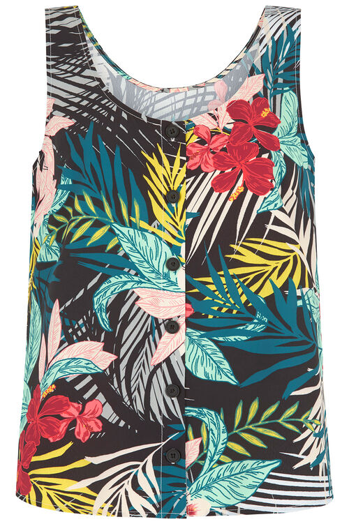 Tropical Print Button Through Vest