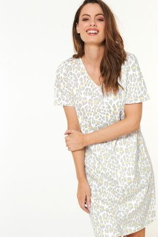 Animal Print Short Sleeve Nightshirt