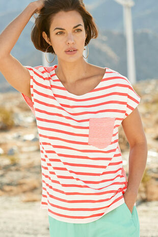 Stripe Pocket Linen T-Shirt