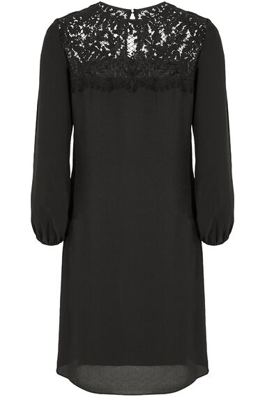 Lace Detail Tunic Dress with Necklace