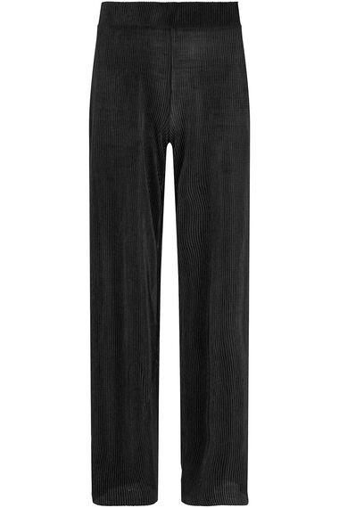 Plisse Wide Leg Trouser