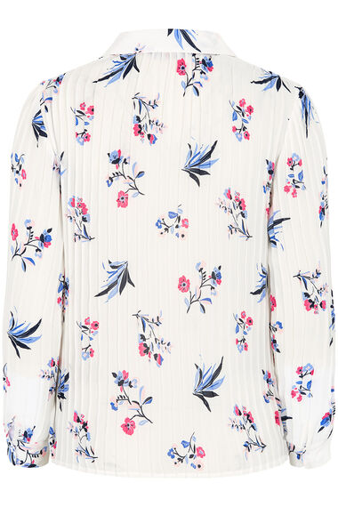 Spaced Stem Floral Long Sleeve Pleated Blouse