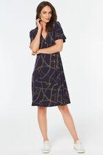 Chain Print Button Detail Dress