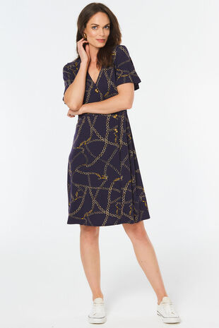 Chain Print Button Detail Dress