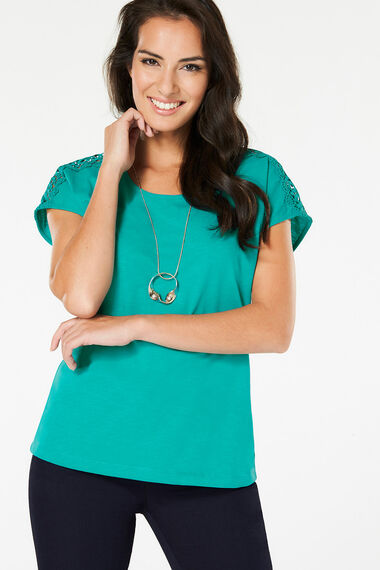 Lace Shoulder T-Shirt