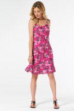Leaf Print Beach Dress with Frill Hem