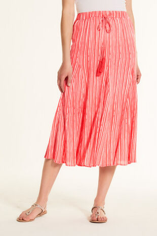 Printed Stripe Crinkle Maxi Skirt