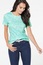 Crew Neck Bird Print T-Shirt
