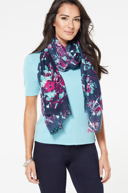 Navy Floral Textured Scarf