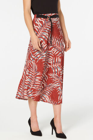 Palm Print Skirt With Tie