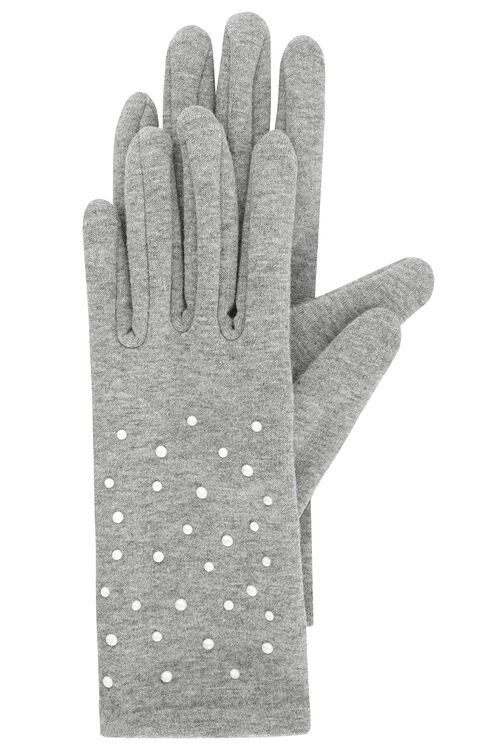 Grey Marl Glove With Pearl