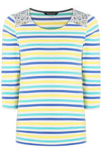 Stripe with Lace Detail T-Shirt