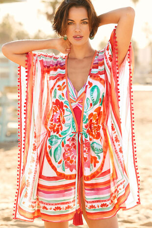 Watercolour Pom Trim Open Kaftan