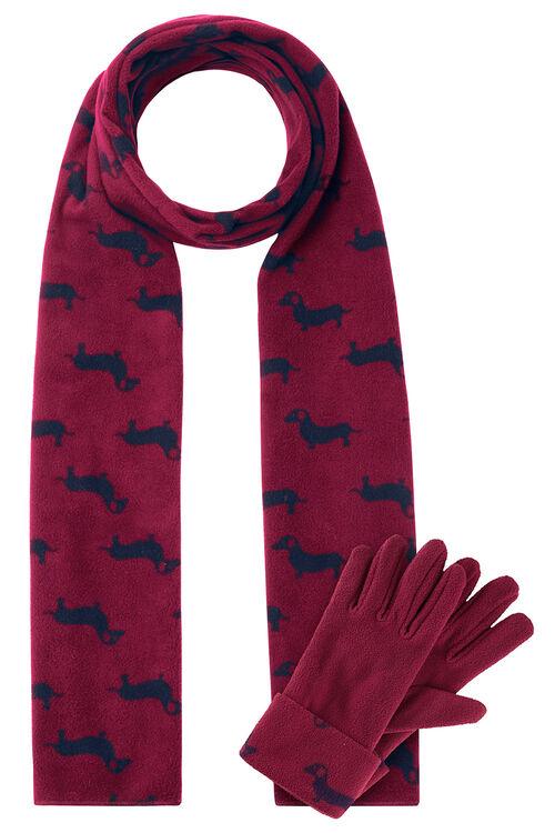 Sausage Dog Scarf and Glove Fleece Set
