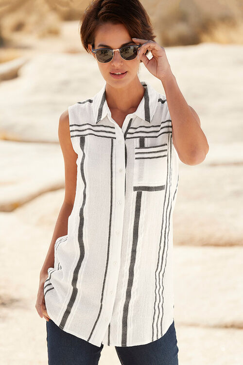 Sleeveless Stripe Button Through Shirt