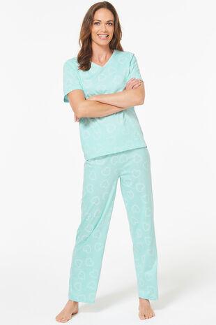 Heart Print Wide Leg Pyjama Set