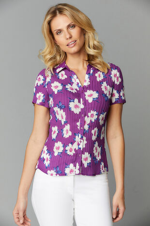 Large Floral Pleated Short Sleeve Blouse