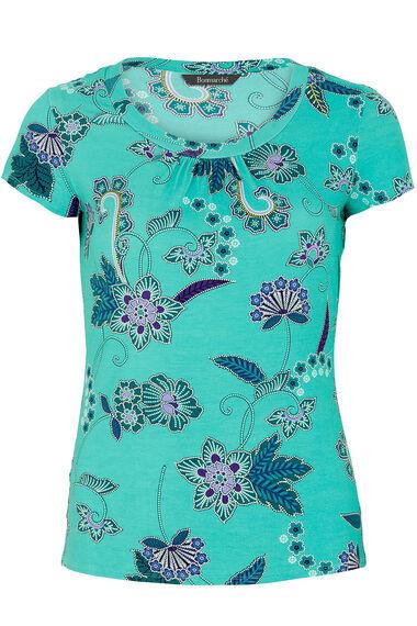 Paisley Floral Print Scoop Neck Top