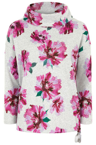 Floral Print Soft Touch Funnel Neck Sweat