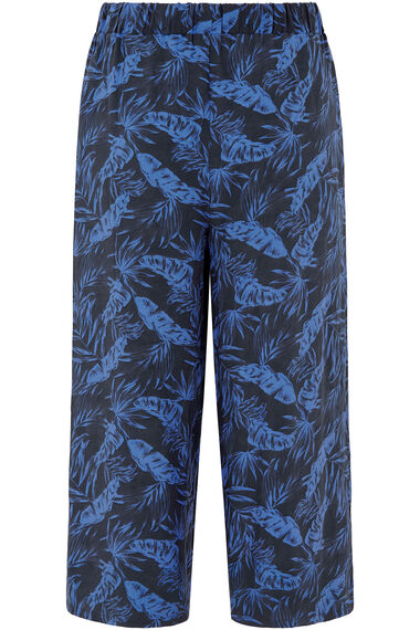 Printed Wide Leg Cropped Trousers