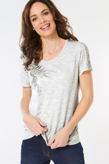 Foil Leaf Sequin Tee