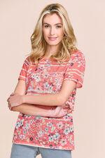 Floral & Pink Stripe Print T-Shirt
