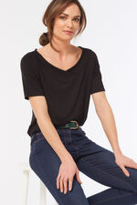 3/4 Sleeve Wide Neck Jersey Top