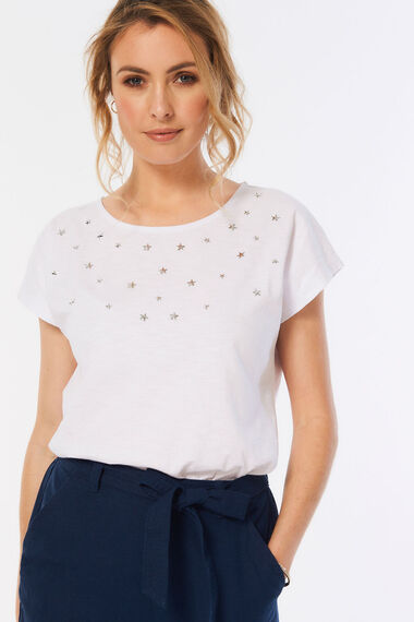 Scattered Star Embellished T-Shirt