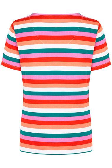 Notch Neck Stripe Print T-Shirt