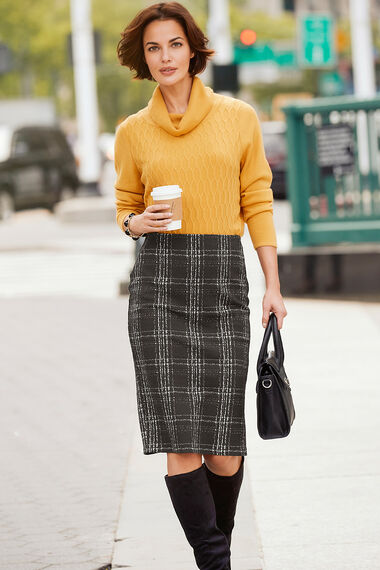 Check Textured Pencil Skirt